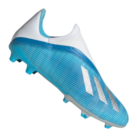 Бутсы adidas X 19.3 FG/AG Laceless Bright Cyan/Silver